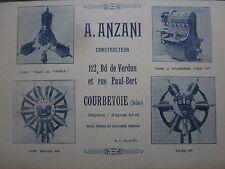 1925 PUB A ANZANI COURBEVOIE MOTEUR AVIATION AEROPLANE AVION AERO ENGINE AD