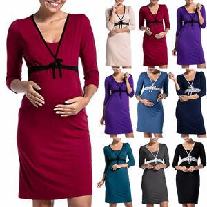 Maternity Women Pregnancy Pjs 3/4 Sleeve Nursing Nightdress Breastfeeding Dress