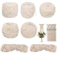 6mm 100m 100% Natural Cotton String Twisted Cord Beige Craft Macrame Artisan DIY