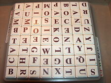 Upwords 64 Plastic Letter Tiles ONLY 1988  Board Game BROWN white CRAFTS SPELL