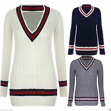 Women's Chunky, Cable Knit Knit V Neck Acrylic Jumpers & Cardigans