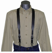 Black Bridle Leather Suspenders with scissor snaps