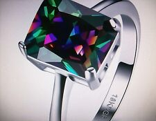 MYSTIC RAINBOW TOPAZ SQUARE SOLITAIRE RING SIZE O.5 WHITE GOLD PLATED + BOX