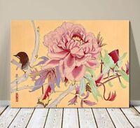 "Beautiful Japanese Floral Art ~ CANVAS PRINT 36x24"" ~Pink Blossom and Wren Bird"