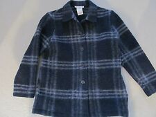 Lana Lee Petite Canada Boiled Wool Button Jacket Sz 10 Navy Blue & Gray Plaid