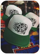 KNUCKLEHEAD flame engine green trucker hat biker heads vintage shirt chopper