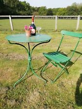 Antique Edwardian Wrought Iron Garden Conservatory Table & Folding Slated Chair
