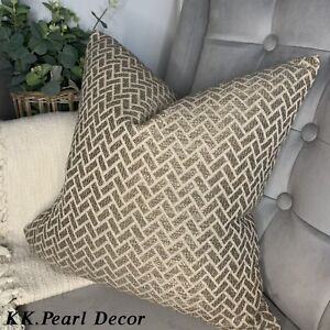 "Cushion Cover 16"" High Quality Fabric Mocha Gold Brown Beige  Geometric Design"