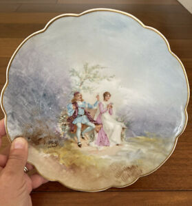 """Antique Limoges France Signed Bald Hand Painted Love Story Plate 9 1/4"""" Gold Rim"""