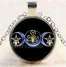 Wicca pagan TRIPLICE DEA moon pentacolo amuleto collana d'argento Triscele Pouch