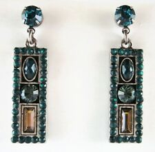 £25 Art Deco Silver Green Turquoise Drop Earrings Swarovski Elements Crystal