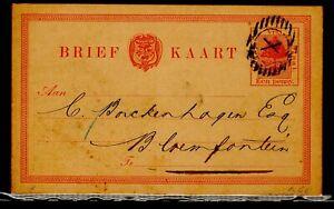 Oranje Vrij Staat Briefkaart Postmark X Vrede 06.09.-1890 to Bloemfontein Orange