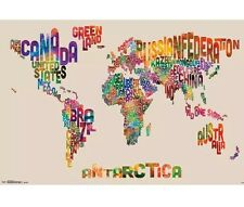 BRAND NEW Trends International World Map Text Wall Poster Factory Sealed