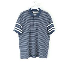 Lacoste Mens Large Regular Fit Stitched Croc Logo Striped Polo Golf Shirt Blue