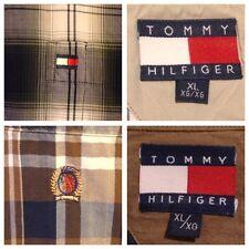 LOT OF 2> Tommy Hilfiger PLAID Oxford Shirts FLAG / CREST Mens XL Shadow Plaid