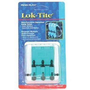 PENN PLAX Lok-Tite Non-Corrosive Aquarium Gang Valve 3 Way  # VN3  FREE SHIPPING