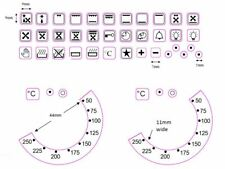 OVEN TEMPERATURE DECALS 50-250 with 44mm INNER DIA + 36 OVEN SYMBOL STICKERS
