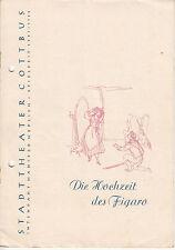 Altes Programm Stadttheater Cottbus Die Hochzeit des Figaro Spielzeit 1957-58