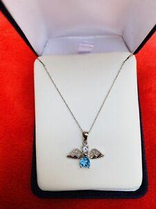 "10K Solid  White Gold Blue Topaz  Necklace - 18"" long"