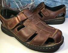 Club Room Mens Brown Leather Sandals Size 10M Flexology Charter Club