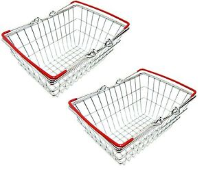 2 x Stainless Steel Mini Wire Shopping Basket Chip Wedges Food Presentation New
