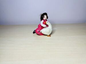 OOAK 12th Dollhouse Polymer clay Miniature Doll Character Girl & Duck by_lana