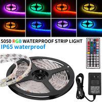 5M SMD RGB 5050 Waterproof 300 LED Strip Light 44 Key Remote 12V 5A Power Lot