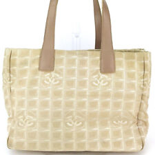 CHANEL tote bag New Travel line beige nylon jacquard �~ leather Auth used T16934