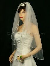 2T Ivory Bridal Fingertip Length Rattail Edge Wedding Veil