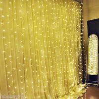 Wedding Curtain LED Light 3x3M 300 LED Warm White String Fairy Lights Xmas Party