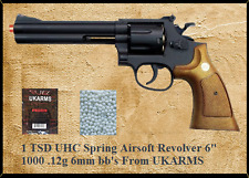 "TSD UHC UKARMS .357 Airsoft Revolver 6"" Black Barrel with shells, 1000 bb's"