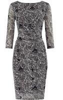 BNWT Phase Eight /8 Leaf Print Dress Black / Ivory Size 14