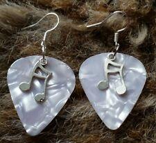 New White Guitar Pick Music Pendant Earrings Jewellery Costume Glam Rock