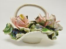 Vintage CAPODIMONTE Floral Basket Centerpiece Porcelain Italy Crown Marked