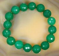 "Natural 10mm Faceted Green Emerald Round Gemstone Beads Elastic Bracelet 7.5"""