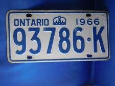 ONTARIO LICENSE PLATE 1966 93786 K VINTAGE CROWN CANADA CAR GARAGE SIGN