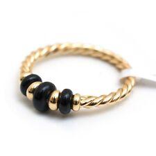 New DAVID YURMAN Rio Rondelle Black Onyx 18K Yellow Gold Ring Size 6