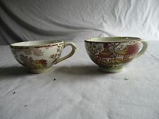 2 tasses au décor tournant japonisant choisy HB & Cie terre de fer anciennes.