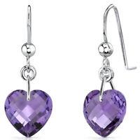 6.50 Cts Heart Shape Genuine Amethyst earrings in Sterling Silver