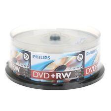 25 PHILIPS 4X DVD+RW DVDRW ReWritable Blank Disc Storage Media 4.7GB Cake Box