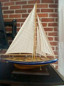 Gorgeous Vintage Wood Pond Yacht model display sailboat nautical ship  23 X 30