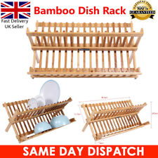 Bamboo Foldable Large Capacity Sink Dish Drainer Wooden Bowl Cups Drying Rack