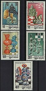 GUINEA BISSAU 1983 History of Chess Pieces Figures King Queen Knight SET 5 STAMP