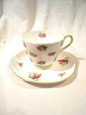Shelley Cup & Saucer Rose/Pansy-Green Handle