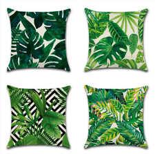 "UK 18"" Tropical Green Leaf Geometric Garden Home Cushion Cover Throw Pillow Case"