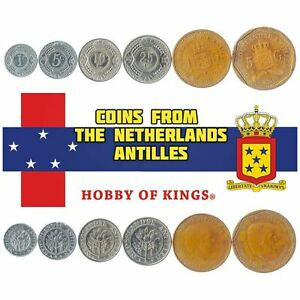 7 COINS FROM NETHERLANDS ANTILLES. 1, 5, 10, 25, 50 CENTS, 1, 5 GULDEN 2014-2016