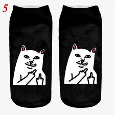 3d Unicorn Print Men Women Casual Low Cut Socks Cotton Animals Pattern Socks 5 Cat