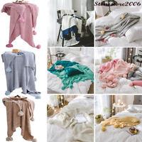 Soft Reversible Pom Pom Knitted Throw Crochet Blanket Cotton Rug Bed Sofa