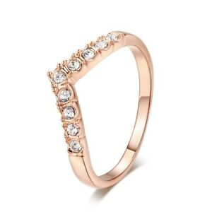 Vintage 9K Gold Filled Crystal CZ Wing Ring for Womens Female Size 6