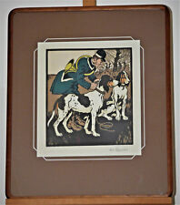 "Henri-Claude Forestier ""Huntsman with Pointer Dogs"" Original Drawing Painting"